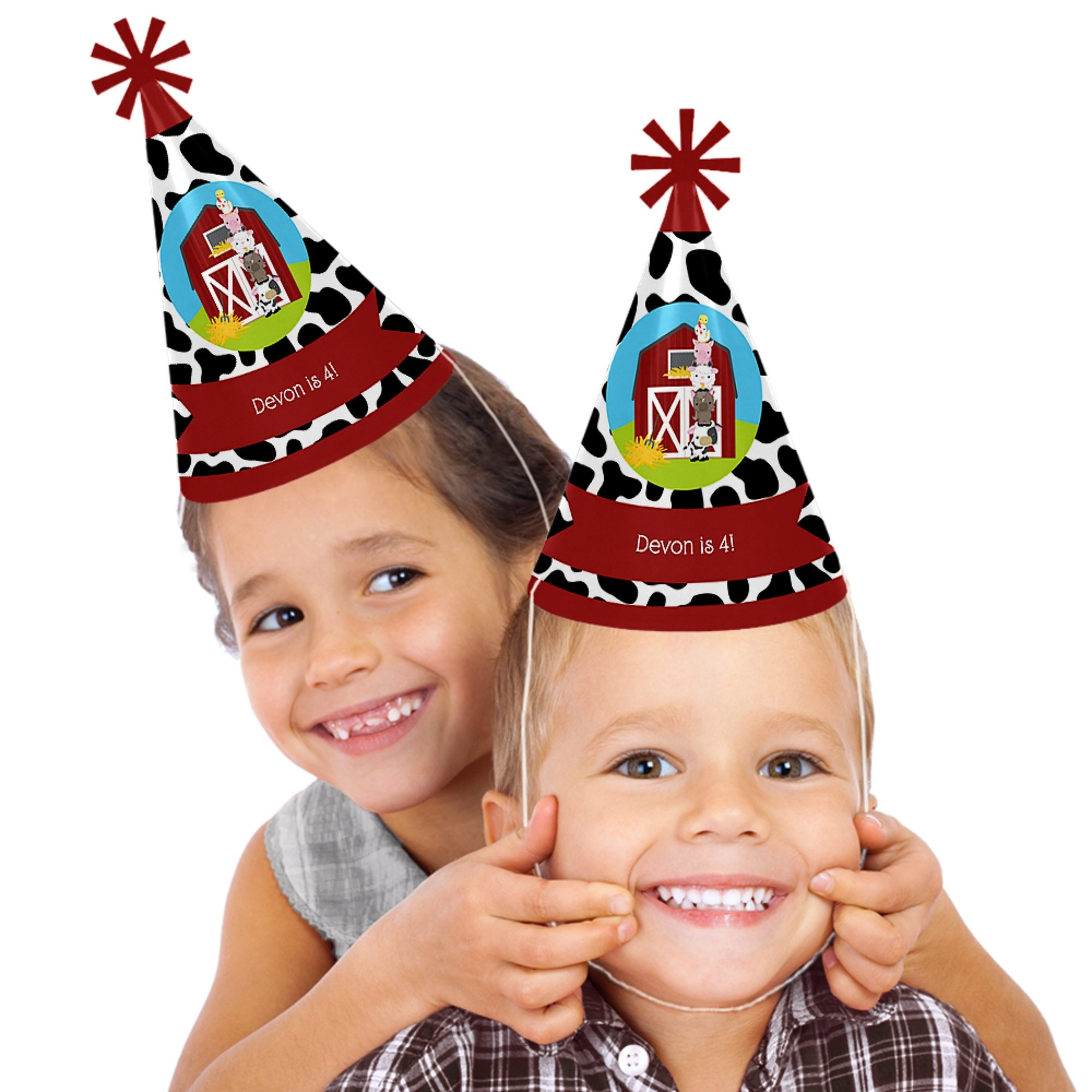 Custom Farm Animals - Personalized Cone Happy Birthday Party Hats for Kids and Adults - Set of 8 (Standard Size)
