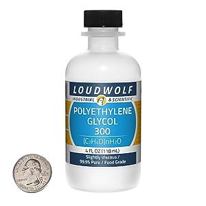 Polyethylene Glycol 300/4 Fluid Ounce Bottle / 99.9% Pure Food Grade/Slightly Viscous/USA