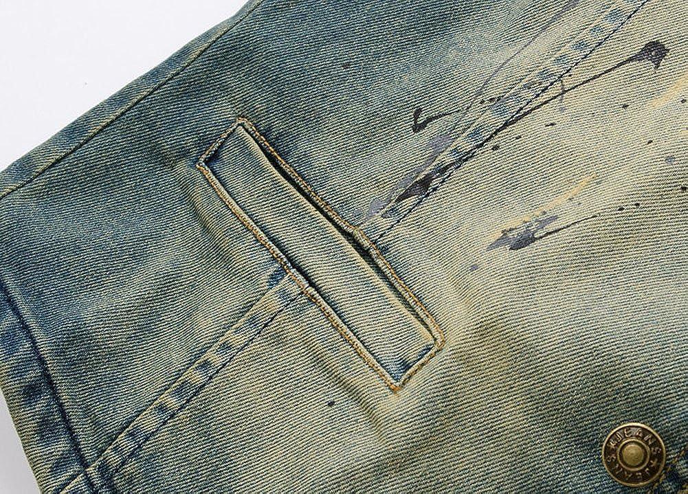 MISSMAOM Giacca Denim Uomo Vintage Cappotto Jeans Senza Maniche Giacca Giubbotto Smanicato