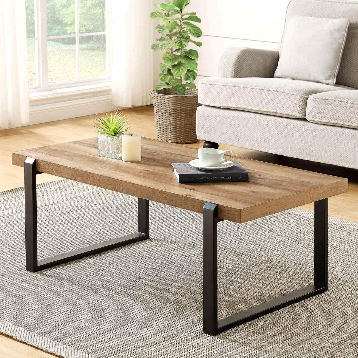 FOLUBAN Rustic Coffee Table,Wood and Metal Industrial Cocktail Table for Living Room, Oak