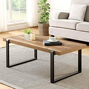 FOLUBAN Rustic Coffee Table,Wood and Metal Industrial Cocktail Tablefor Living Room, Oak