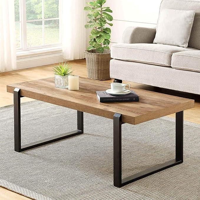 Amazon.com: FOLUBAN Mesa de café rústica, madera y metal ...