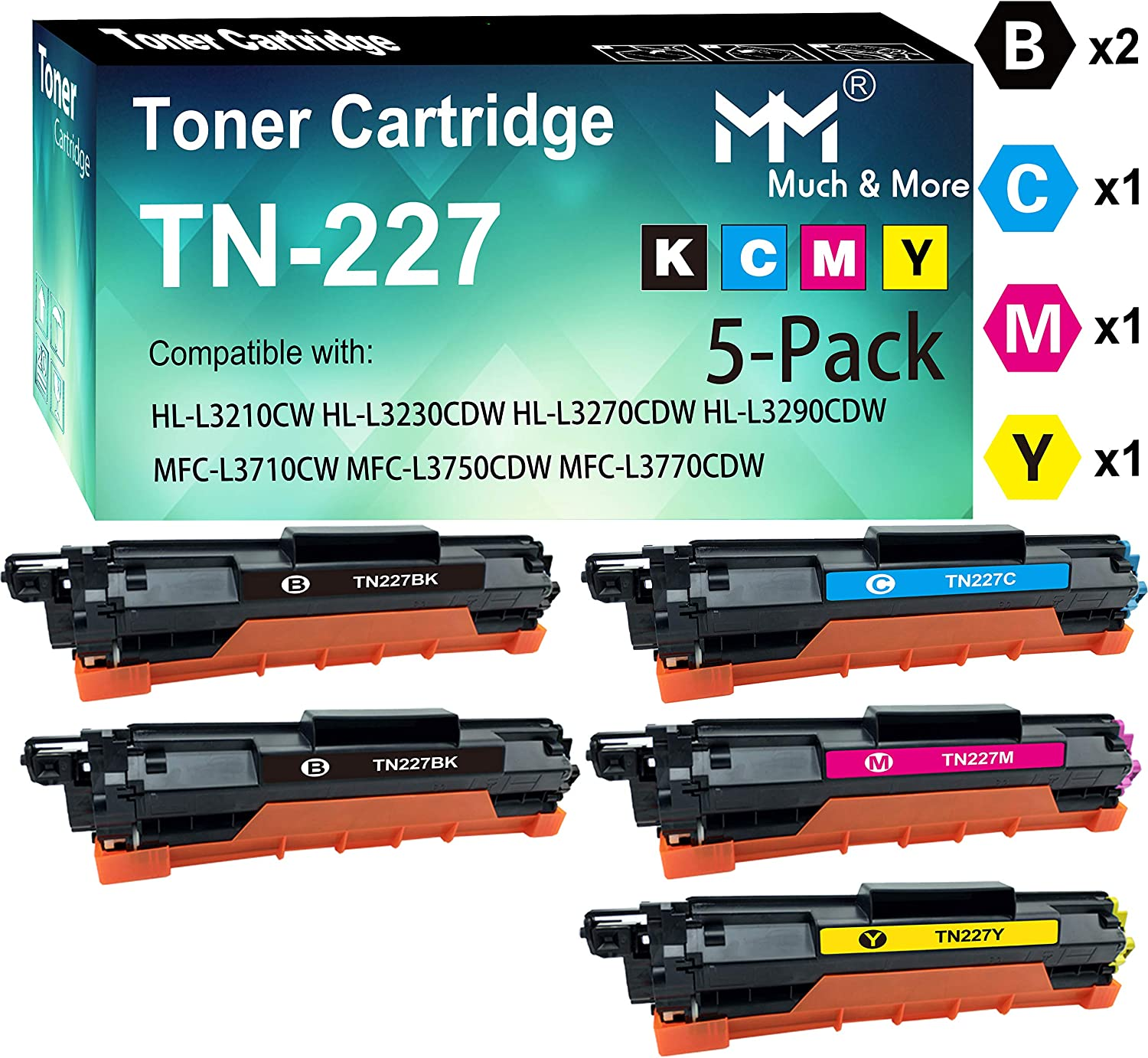 2X BK+C+M+Y, High Yield by MoreMore Compatible TN227 TN-227 Toner Cartridge TN-223 Used for MFC-L3710CW L3750CDW L3770CDW HL-L3210CW L3230CDW L3270CDW L3290CDW Printer 5-Pack
