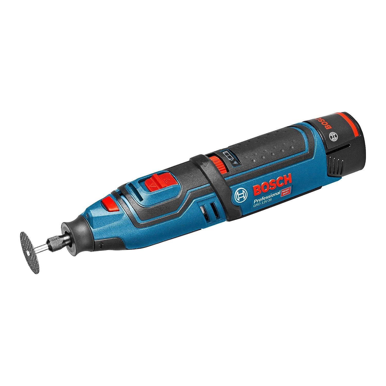 Bosch Professional Akku-Rotationswerkzeug GRO 12 V-35 (2 x 2,0 Ah Akku, Schnellladegerät, Trennscheibe, Leerlaufdrehzahl: 5,000 – 35,000 min-1, 12 Volt System, L-Boxx) 4411866