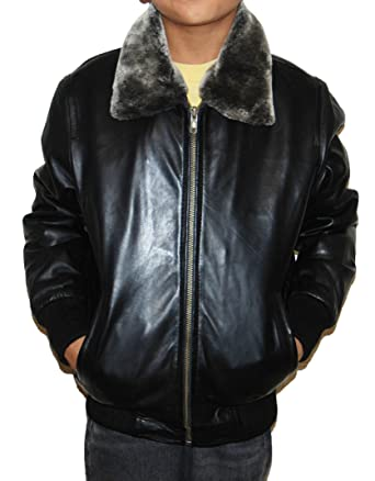 Childrens Genuine Sheep Leather Bomber Jacket Kids Boys Coat ...