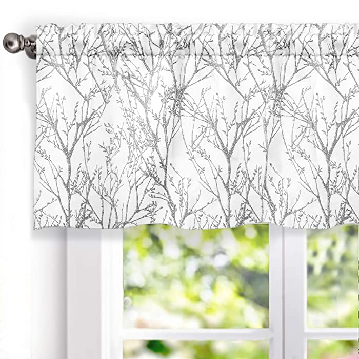 "DriftAway Tree Branch Botanic Pattern Lined Window Curtain Valance,52""X18""+2"" Header (Gray)"