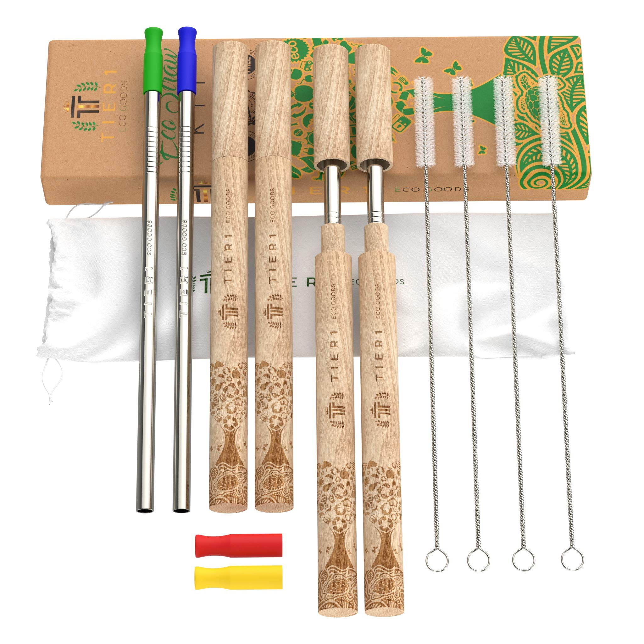 Reusable Metal Stainless Steel Straws With Case - 4 Custom Made Wooden Case sets, 4 Cleaning Brushes , 4 Silicone Tips - Portable Travel Zero Waste Straw Set - Travel Bag Included