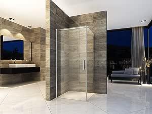 Cabina de ducha de 80 x 80 cm, ducha de esquina, mampara de ducha, puerta de ducha, puerta oscilante, vidrio de seguridad ESG, revestimiento Nano: Amazon.es: Bricolaje y herramientas