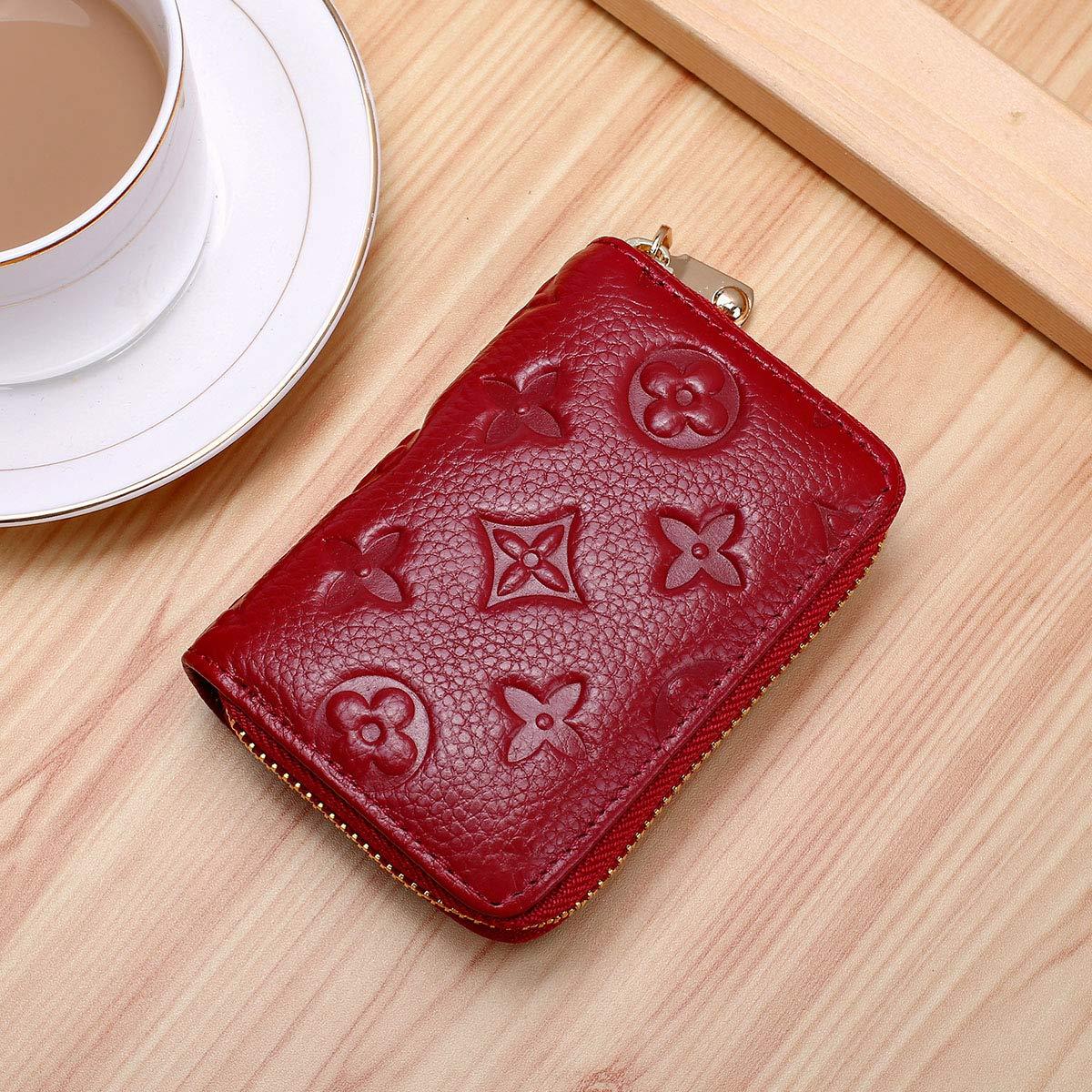 Auner Womens Wallet RFID Blocking Genuine Leather Multi Credit Card Holder Zipper Small Wallets - Dark Red by Auner (Image #2)