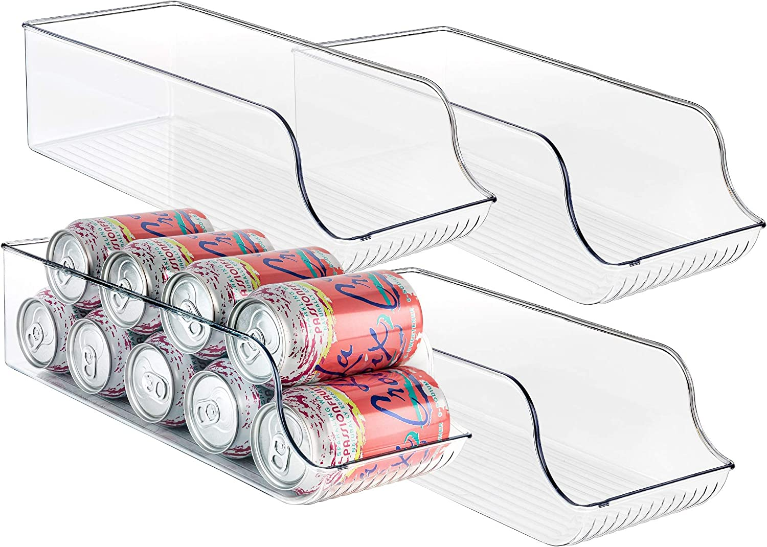Homeries Can Drink Holder Storage & Dispenser Bin for Refrigerator, Freezer, Countertop, Cabinets & Pantry - Pack of 4 - Holds Up To 9 Cans (7oz) - Beverage & Canned Food Organizer
