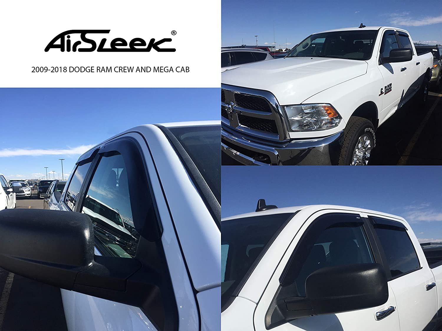 4 Door AirSleek Windows Rain Guards for Dodge RAM 2009-2018 Crew and MEGA CAB ONLY Side Window Deflectors Vent Visors Outside Tape Mount Platinum