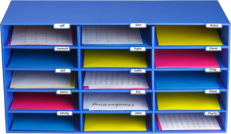 AdirOffice File Organizer Classroom - Office - Home - Blue - Corrugated Cardboard (15 Slots, Blue)