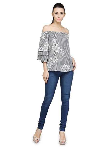 55b7a871242f2c ENVY ME PRINTED OFF SHOULDER TOP WITH TIER SLEEVES: Amazon.in: Clothing &  Accessories