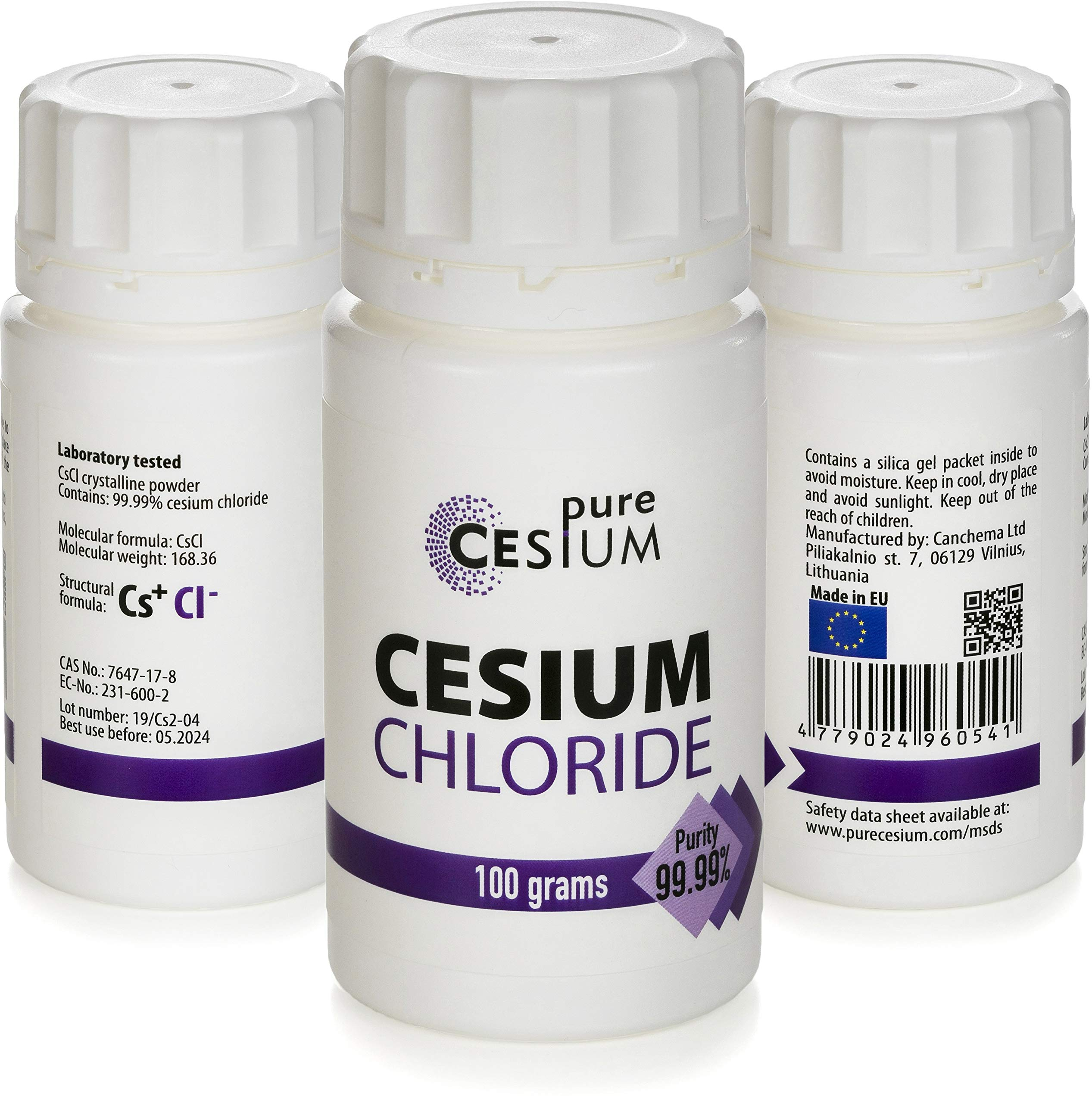 Pure Cesium Chloride CsCl 100g Crystal Powder, Purity >99.99%, Made in Europe, by Pure Cesium, Certificate of Analysis Included, Tested in a Certified Laboratory, 3.5oz