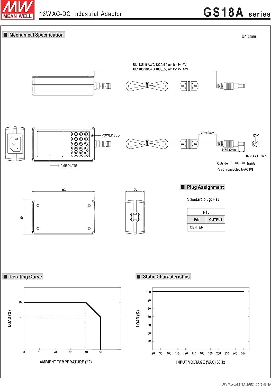 Mean Well Original GS18A12-P1J AC-DC Green Industrial Adaptor 12V 1.5A 18W