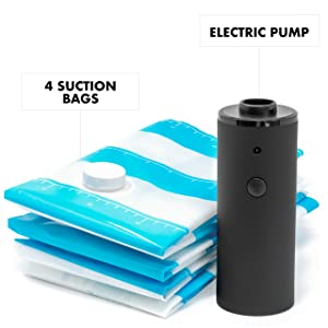 Ambran Travel Vacuum Bags with Electric Pump | 4 Storage Bags | 2 15x23 Bags & 2 19x27 Bags | Space Saver Bags | Portable Electric Vacuum Pump | Great Storage Bags for Home and Travel Use