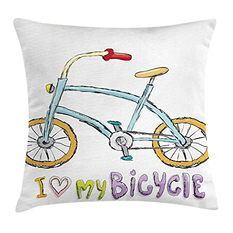 Yinorz Bicycle Throw Pillow Cushion Cover, Love My Bicycle ...