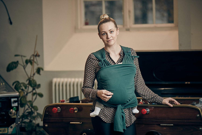 Gr/ö/ße M//L schnell bequem und elastisch f/ür Neugeborene und Babys Baumwolle Najell Wrap Babytragetuch kein Binden n/ötig Blau