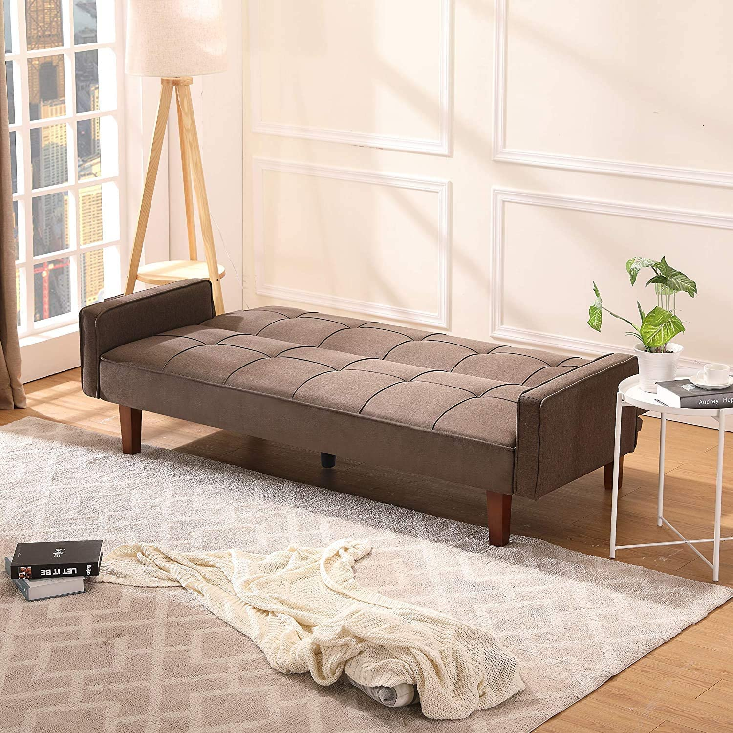 Convertible Recliner Lounge Futon Couch Linen Fabric Sofa with Wood Legs for Small Room Apartment Brown LinkRomat Modern Bed