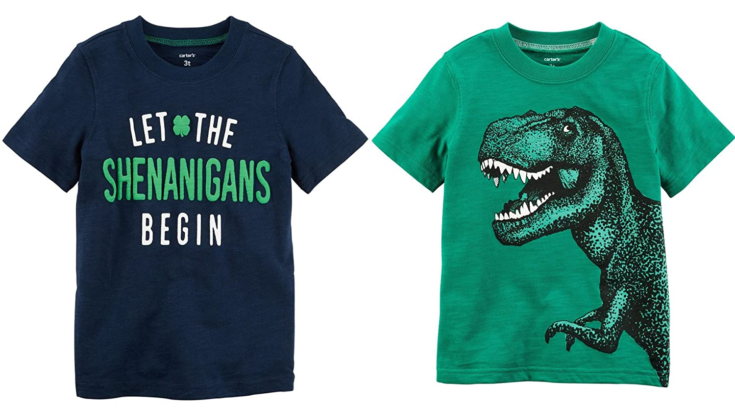 22e14744f Amazon.com : Carters Baby Toddler Little and Big Boys ST Patricks Day Set  Of 2 Short Sleeve Shirts (3 Months, Navy Let The Shenanigans Begin and  Green Dino) ...