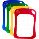 Kitchen Cutting Boards (Set of 4) - Flexible Plastic Color-Coded Chopping Boards for Meat or Chicken, Fish, Fruits and Vegetables - Lightweight, Small Mats and Easy to Clean, Antimicrobial Surface