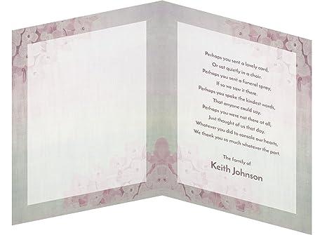 Amazon.com : Funeral Memorial Service Thank You Cards & Envelopes ...