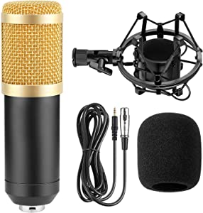 NaTursou Condenser Microphone BM800 Professional Cardioid Mic Bundle for Pc/Laptop Recording Studio YouTube Podcast Vocal Broadcasting Gaming with Shock Mount and Anti-Wind Foam Cap