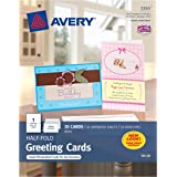 Avery Half-Fold Greeting Cards for Inkjet Printers, 5.5 inches x 8.5 inches, White, Matte, Pack of 20 (03265)