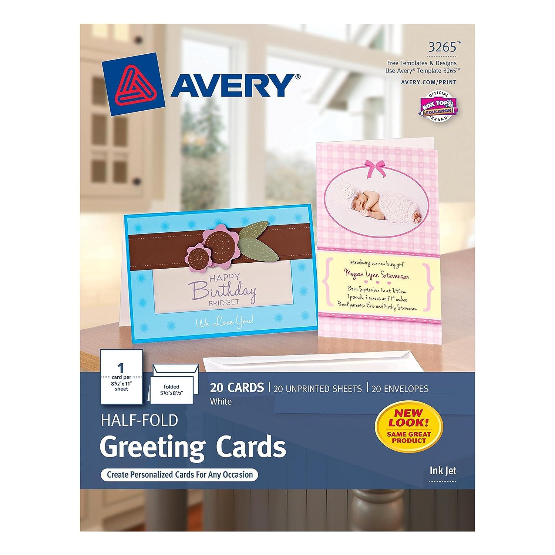 Amazon Avery HalfFold Greeting Cards for Inkjet Printers – Avery Invitation Card Stock