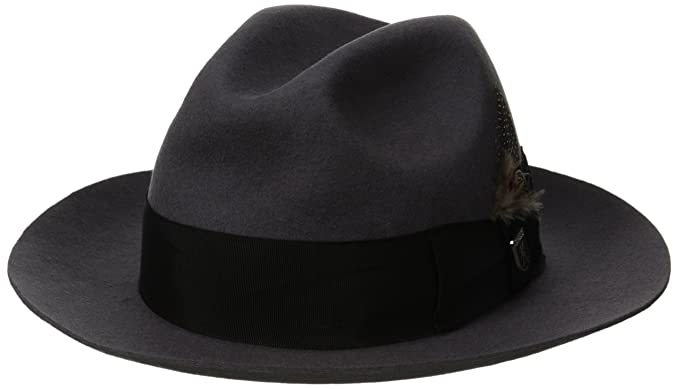 New Edwardian Style Men's Hats 1900-1920 Stacy Adams Mens Wool Felt Feather Fedora Hat £60.10 AT vintagedancer.com