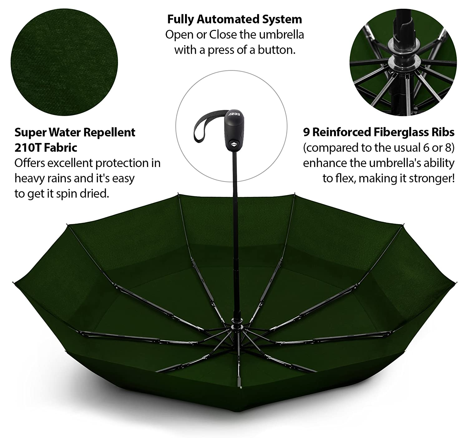 Auto Open Close Button for One Handed Operation Sturdy Portable and Lightweight for Easy Carry EEZ-Y Compact Travel Umbrella w//Windproof Double Canopy Construction