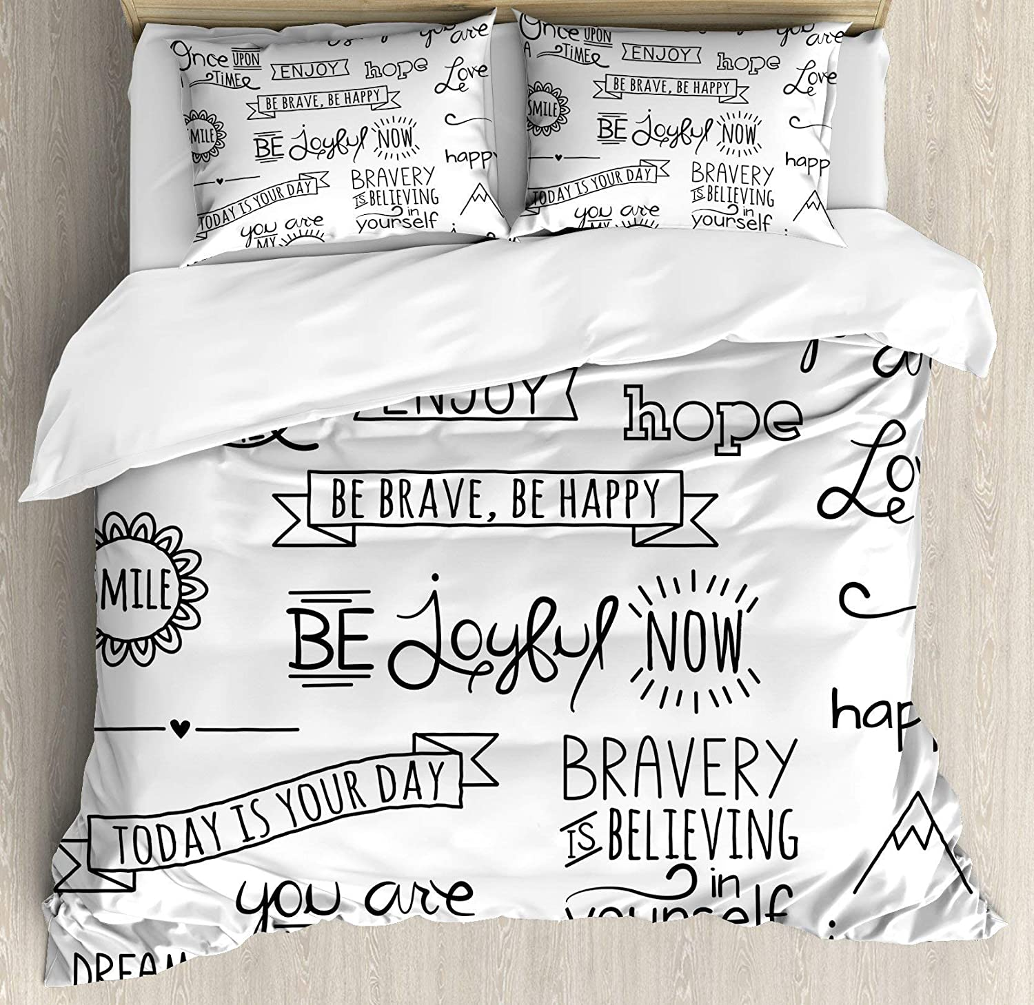 Multi 4 Twin BULING Adventure 4pc Bedding Set Twin Size, Various Quotes on Happiness Self Value Uplifting Phrases Being Who You are Floral Lightweight Microfiber Duvet Cover Set, Black White