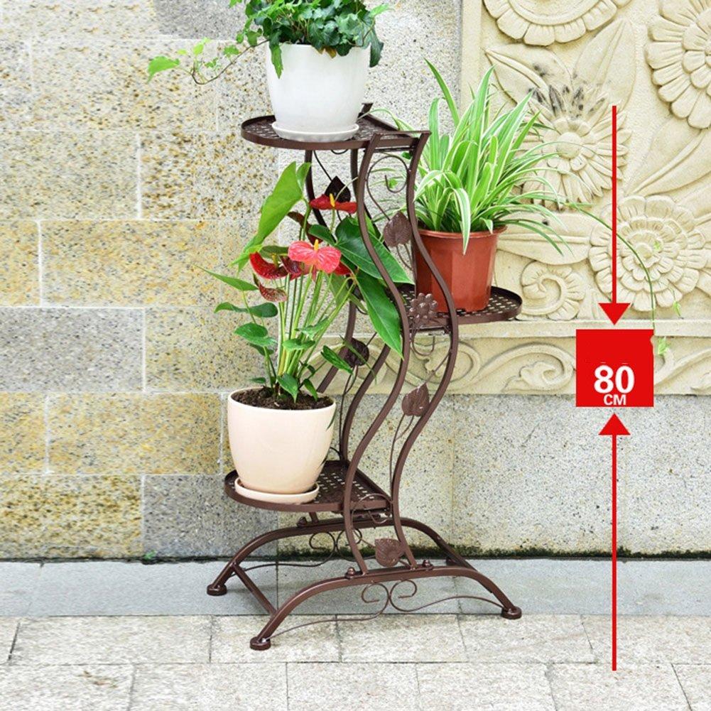フラワースタンド ヨーロッパのアイロンフラワーポットシェルフフロアディスプレイスタンド植物ラダーガーデンホルダー室内バルコニープランター盆栽、2サイズ、3色 花支架 (色 : ブロンズ, サイズ さいず : 45*27*80cm) B07DG4MGGQ  ブロンズ 45*27*80cm