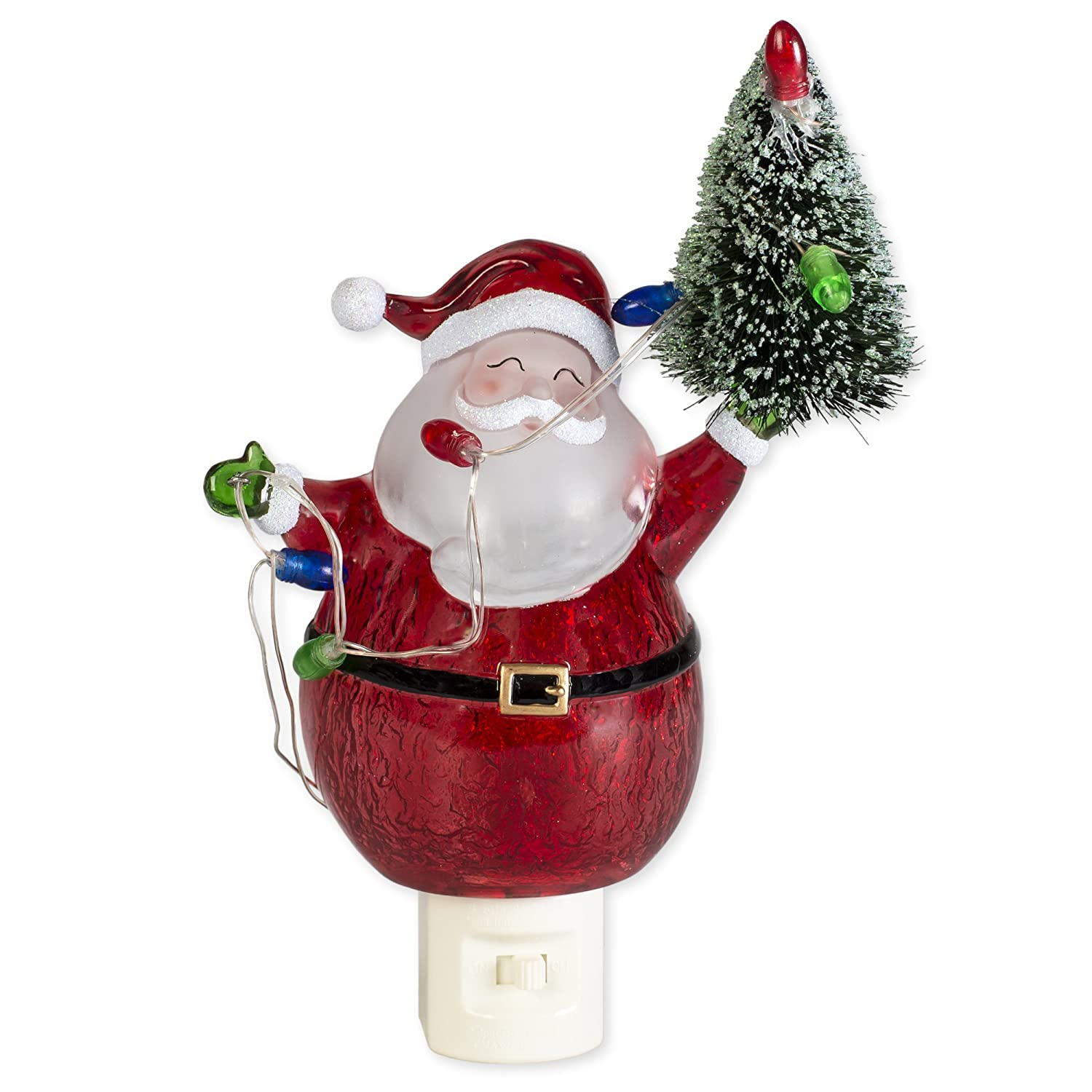 Amazon Com Red Santa Claus And Tree 6 5 Inch Acrylic Decorative Holiday Plug In Night Light Baby