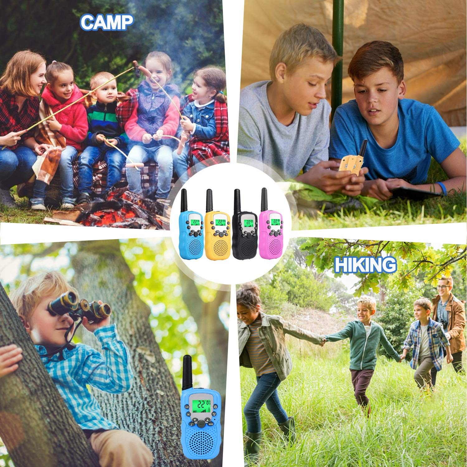 Kids Walkie Talkies Toys for 3-12 Year Old Boys Girls Toddlers, 4 Pack Walkie Talkies with 4 Earphones, 3 Mile Range 22 Channel Flashlight Two-Way Radio, Accessory for Outdoor Adventure Camping Game by iGeeKid (Image #5)