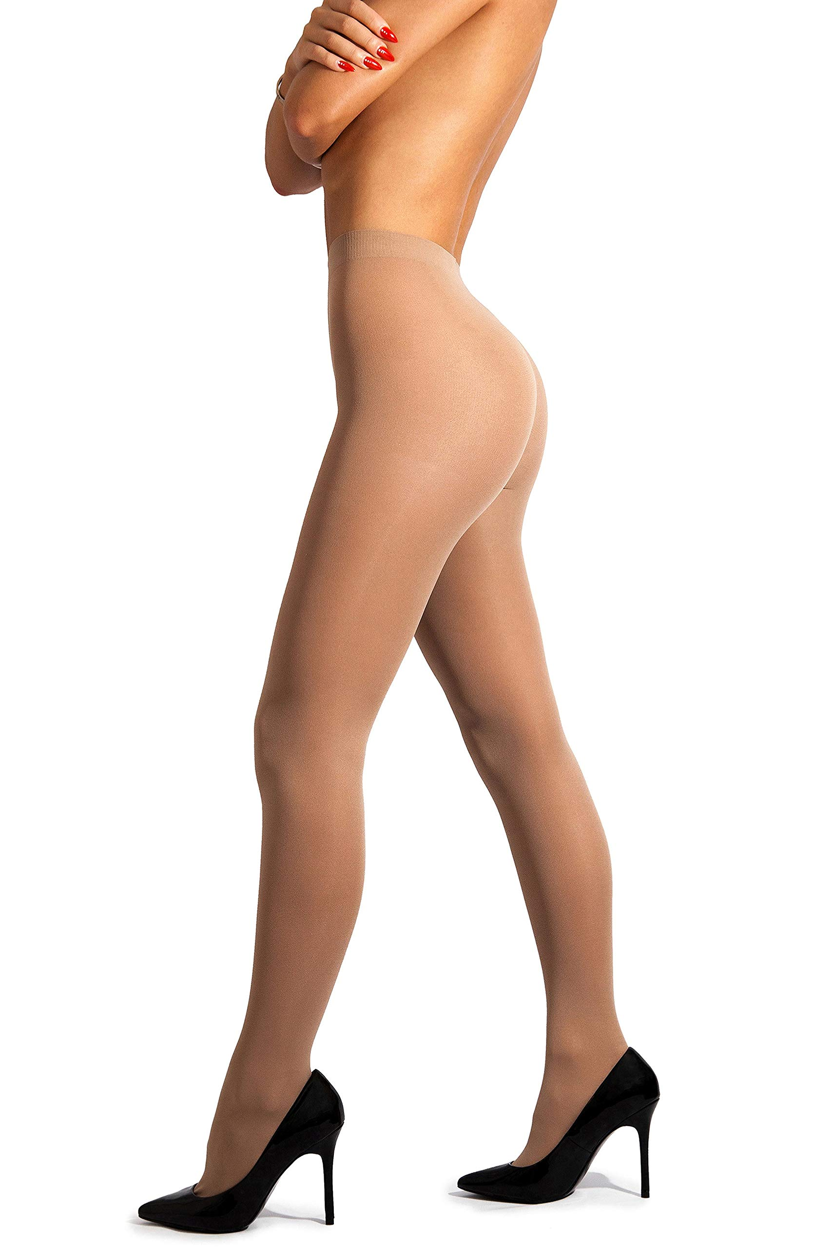 sofsy Opaque Microfibre Tights for Women - Invisibly Reinforced Opaque Brief Pantyhose 40Den [Made In Italy] Natural Beige Nude 5 - X-Large