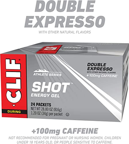 CLIF SHOT – Energy Gels – Double Espresso – 100mg Caffeine 1.2 Ounce Packet, 24 Count Packaging May Vary