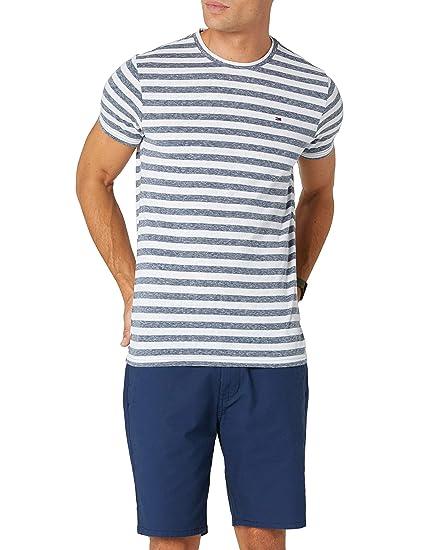 dd53b4da Tommy Jeans Men's Essential Stripe Short Sleeve T-Shirt, Blue (Black Iris  002