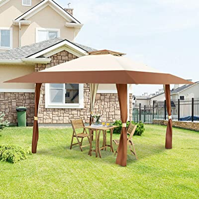 Coffee Outdoor Folding Gazebo Canopy Shelter Awning Tent Patio Home Garden Lawn Living Outdoors Structures Canopies Shade House Yard Awnings Marquees, Tents, Baldachin, Baldaquin, Balcony, Backyard. : Garden & Outdoor