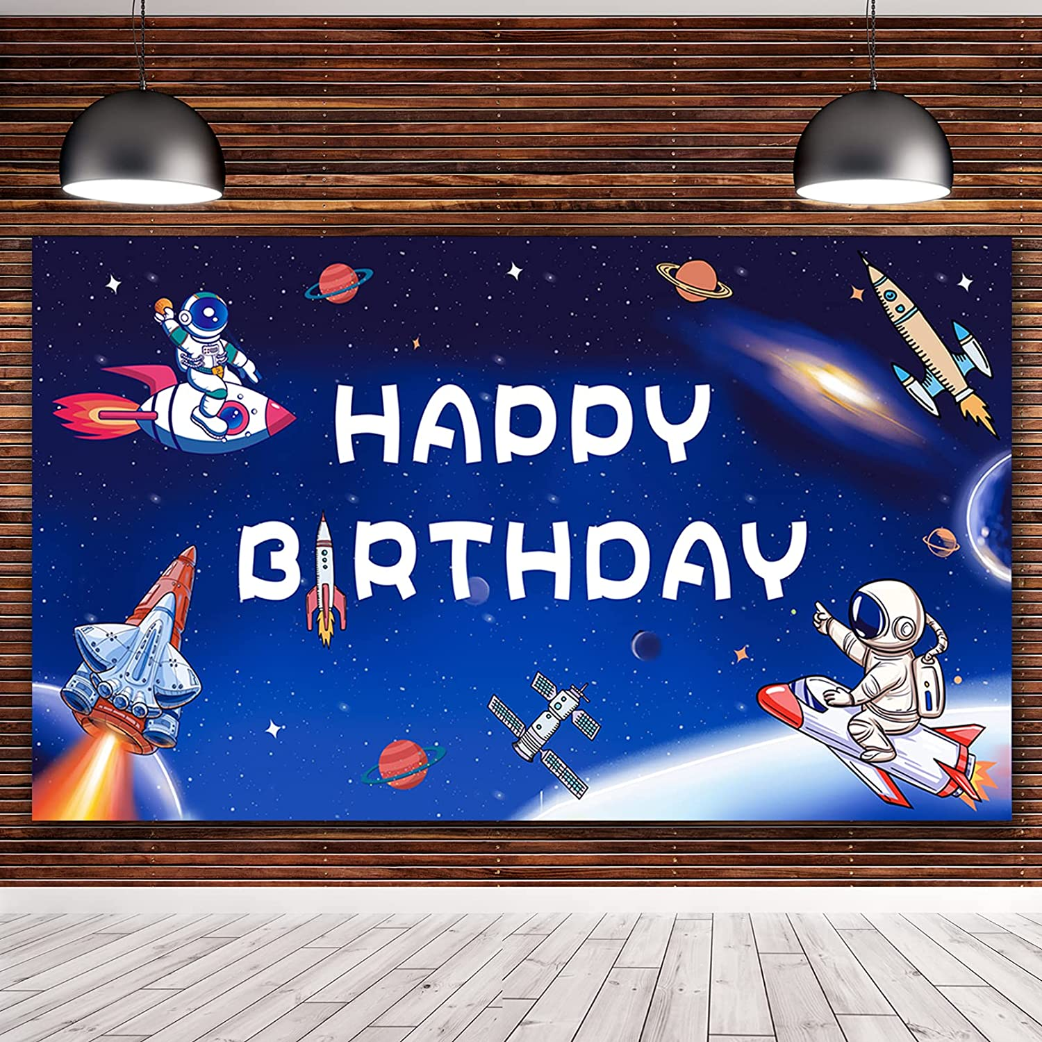 Twohowgen Space Birthday Backdrop Banner, 5.9x3.6ft Rocket Astronaut Solar System Theme Party Decoration Astrology Astronomy Tapestry Galaxy Planet Photo Background Kids Room Decor Supplies