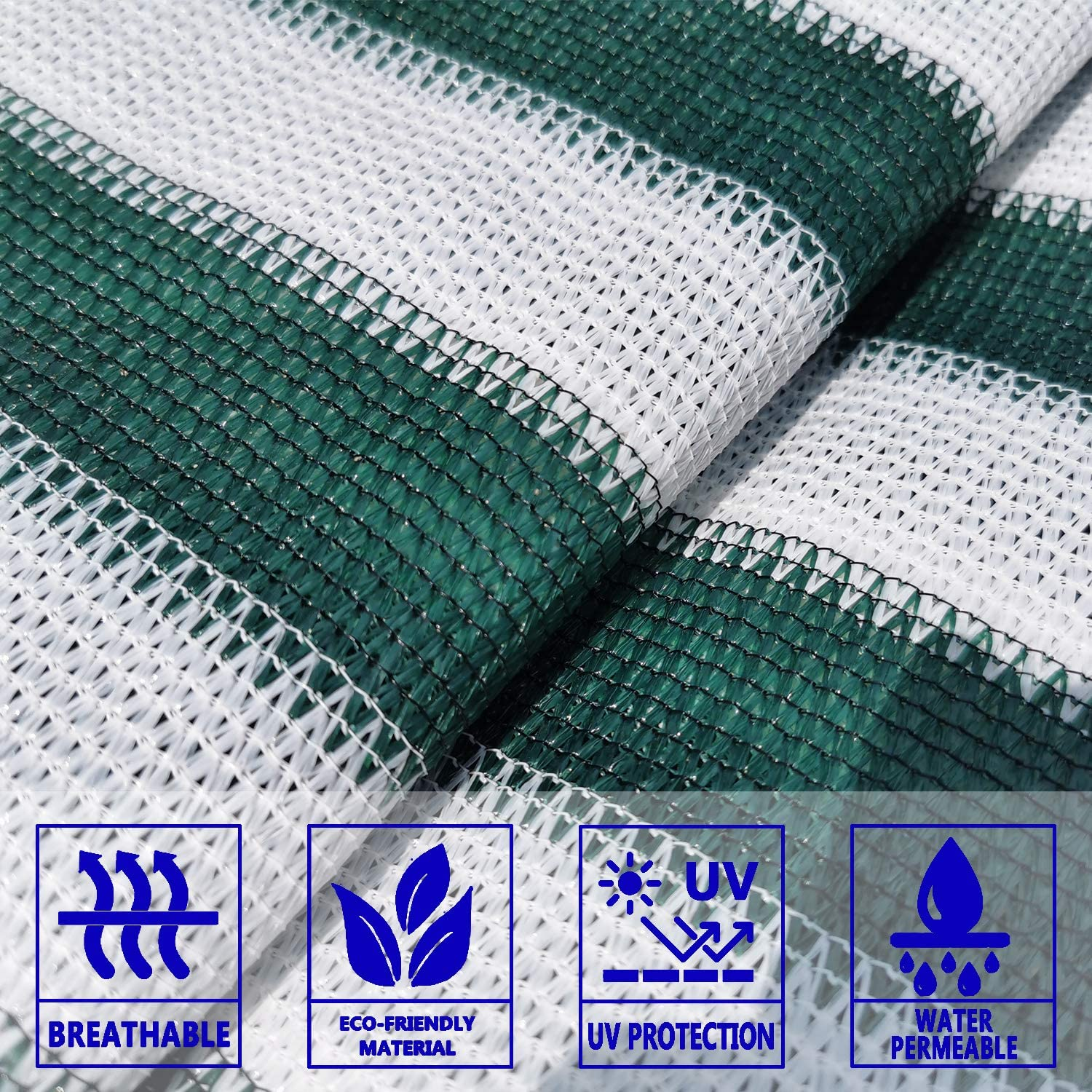 3x10 Fence Mesh 90/% Blockage Net Tarp Cover for Baby Safety Proof On Outdoor Rail Deck Solid Green White Color Balcony Privacy Screen
