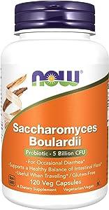 NOW Supplements, Saccharomyces Boulardii, 5 Billion CFU Probiotic, 120 Veg Capsules