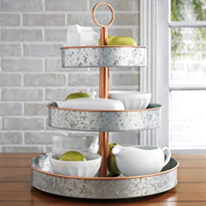 HH Farmhouse Style Copper Rim - Rustic Kitchen Vintage Galvanized 3 Tier Serving Tray, Coffee Bar Accessories, Dessert Stand, Cupcake Stand, Tea Party Pastry Serving Platter, Food Display Stand 3 Tier