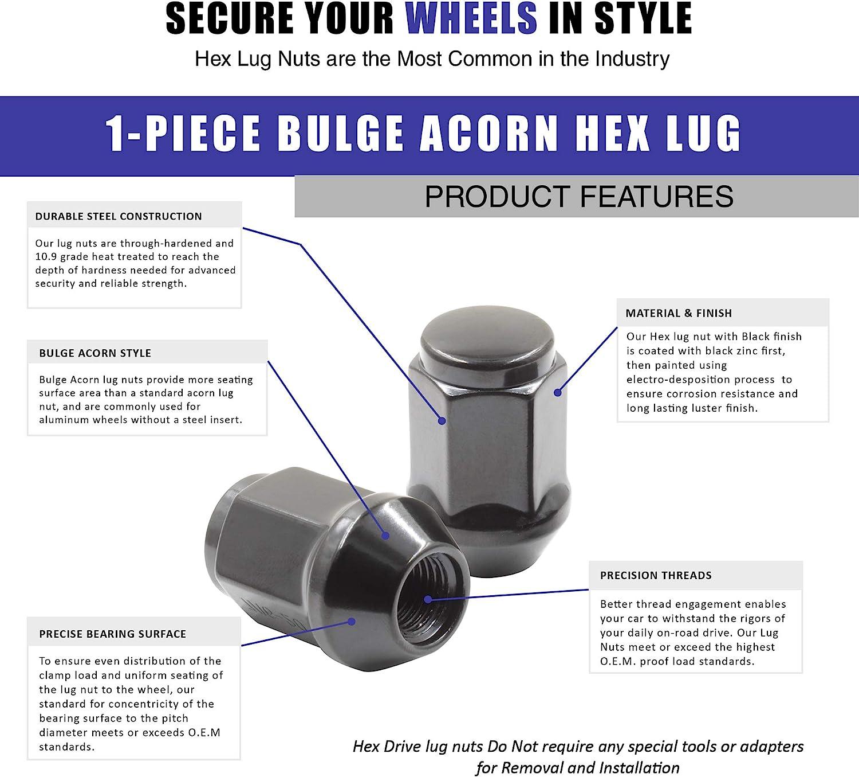 Set of 20 Lug Nuts Closed End Bulge Acorn Lug Nut Style 1.38 Long Cone Seat 19mm 1//2 UNF, Black Hex Wheel Lug Nut 3//4