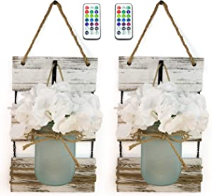 Marino Essentials Mason Jar Wall Sconces | Remote Control 12 color LED Lights | Farmhouse Decor for Living Room Wall Decor | Silk Hydrangea Design for Home Decoration | Set of Two