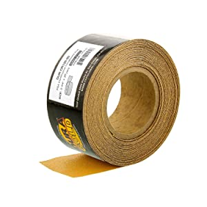 """Dura-Gold - Premium - 120 Grit Gold - Longboard Continuous Roll 20 Yards long by 2-3/4"""" wide PSA Self Adhesive Stickyback Longboard Sandpaper for Automotive and Woodworking"""