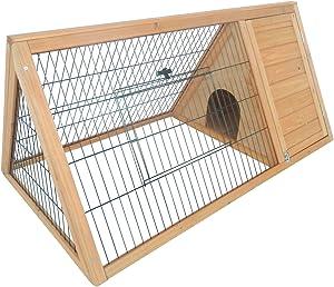PawHut Outdoor Triangular Wooden Bunny Rabbit Hutch