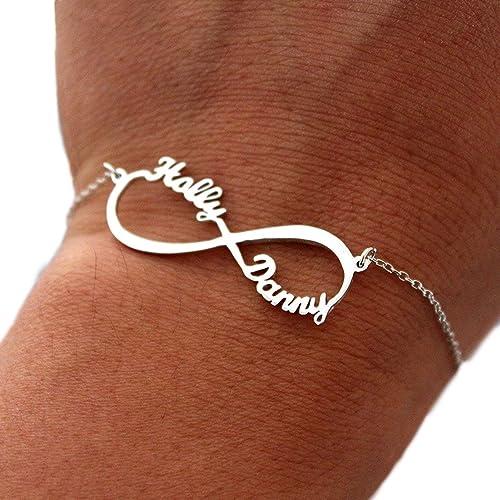 733f44a6e16e Silber Infinity Armband mit Namen- Personalisiert mit Ihrem eigenen  Wunschnamen!