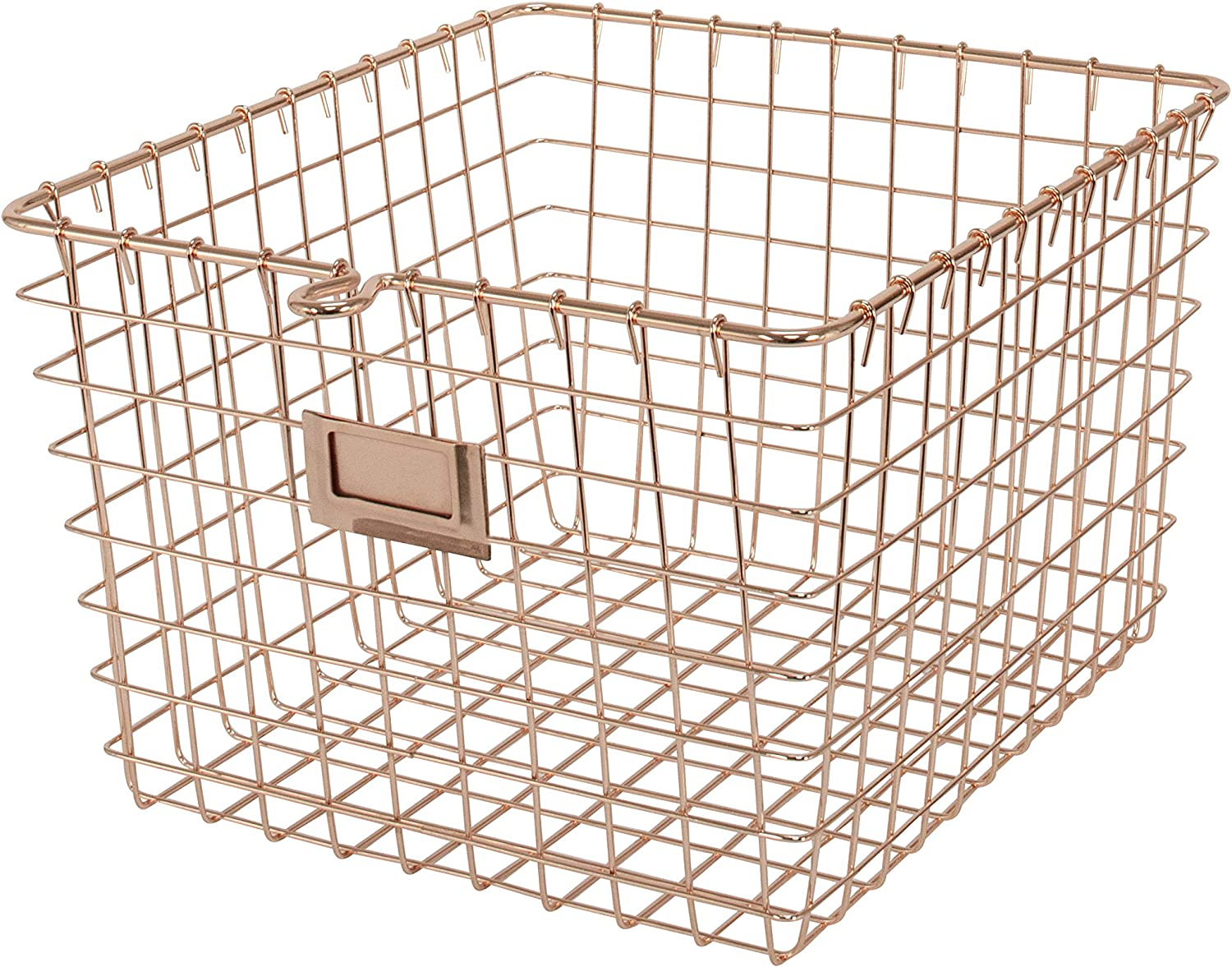 Spectrum Diversified Steel Closets, Pantry, Kitchen, Garage, Bathroom & More, Medium Wire Storage, Vintage Locker Basket Style, Rustic Farmhouse Chic, Pack of 1, Copper