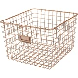 Spectrum Diversified Steel Closets, Pantry, Kitchen, Garage, Bathroom & More, Medium Wire Storage, Vintage Locker Basket Style, Rustic Farmhouse Chic, Pack of 1, Copper